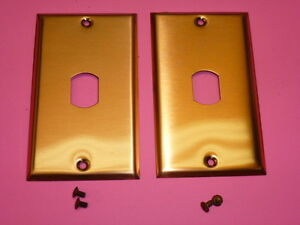 NOS 4-HOLE BELL INTERCHANGE 2-GANG ANTIQUE COPPER FINISH WALL PLATE