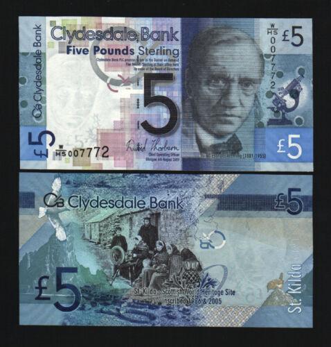 SCOTLAND 5 POUNDS P234 2009 Low # 00777x HERITAGE ST.KILDA UNC CLYDESDALE BANK