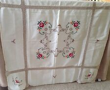 Beautiful Handmade Vintage 34x34 Cross stitch Embroidered Crochet table cloth