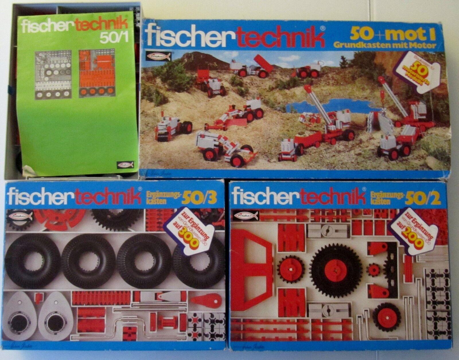 TOP  Fischertechnik Grundkasten mit Motor 50 + MOT1 + 50 1 + 50 2 + 50 3  EXTRAS