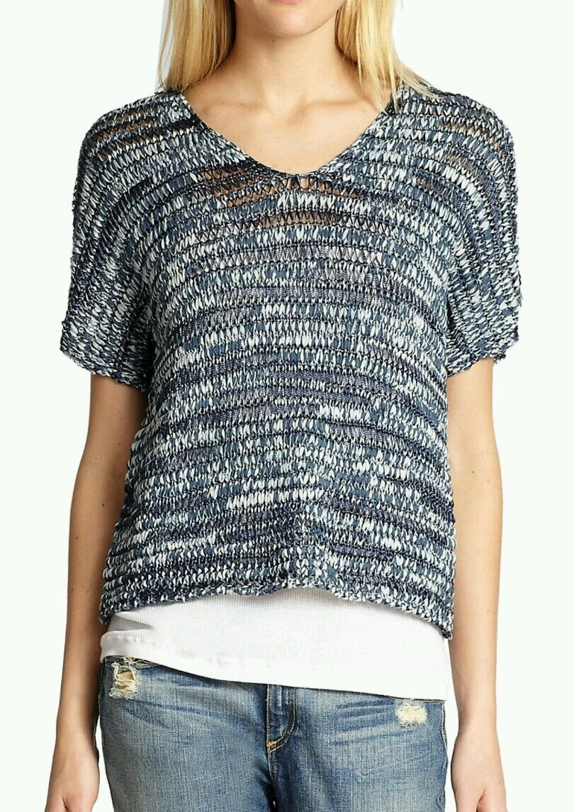 Eileen Fisher DENIM V- Neck Brushstroke Cotton Tape oben Retail  248 NWT