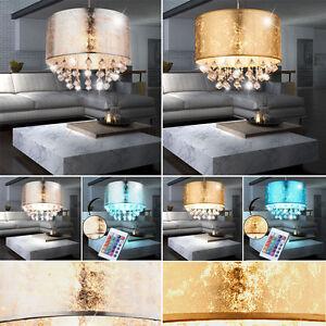 Hängelen Für Hohe Räume kristall led hänge le rgb dimmbar textil decken leuchte gold