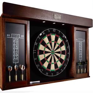 DARTBOARD CABINET SET Professional Dart Board Bar Home Game With Wood Scoreboard