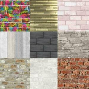 BRICK-SLATE-STONE-EFFECT-WALLPAPER-RUSTIC-RED-WHITEWASHED-GREY-BLACK-amp-MORE