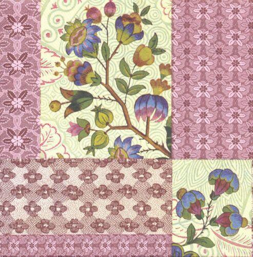 2 Serviettes en papier Décor fleuri Roses Paper Napkins Flowers Decoration