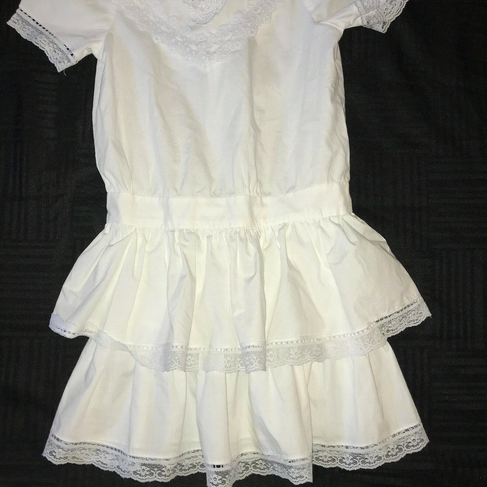 Victorian dress COSTUME girls size 7  white cotto… - image 3