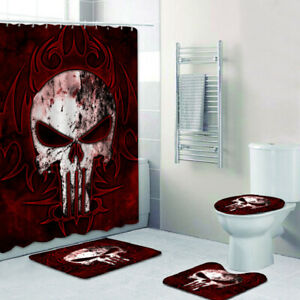 MARVEL The Punisher 4PCS Bathroom Rugs Shower Curtain Bath Mat Toilet Lid Cover