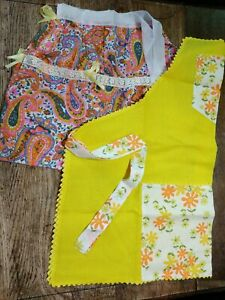 VTG APRONS Lot of 2 VTG  Assorted Floral Full Length  Paisley Half Apron
