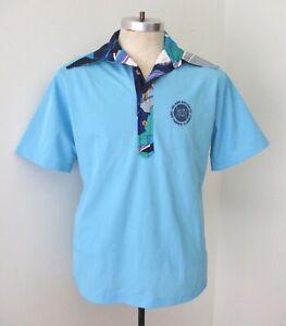 Vtg 70s blue pique poly knit Hawaiian tennis tourney logo polo shirt pocket L