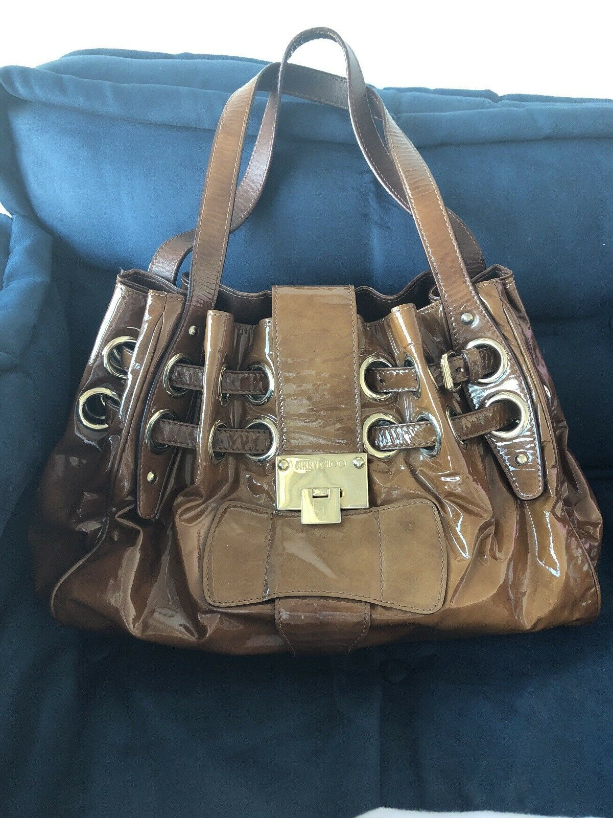 9a3ee33f71f4 Jimmy Choo Patent Leather Riki ramona Handbag in Cigar Color for ...