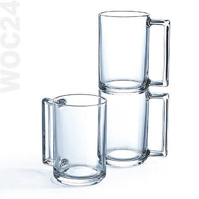 6 Kaffeegläser Kaffeeglas Teegläser Teeglas Henkel Griff Glas Gläser Bockbecher