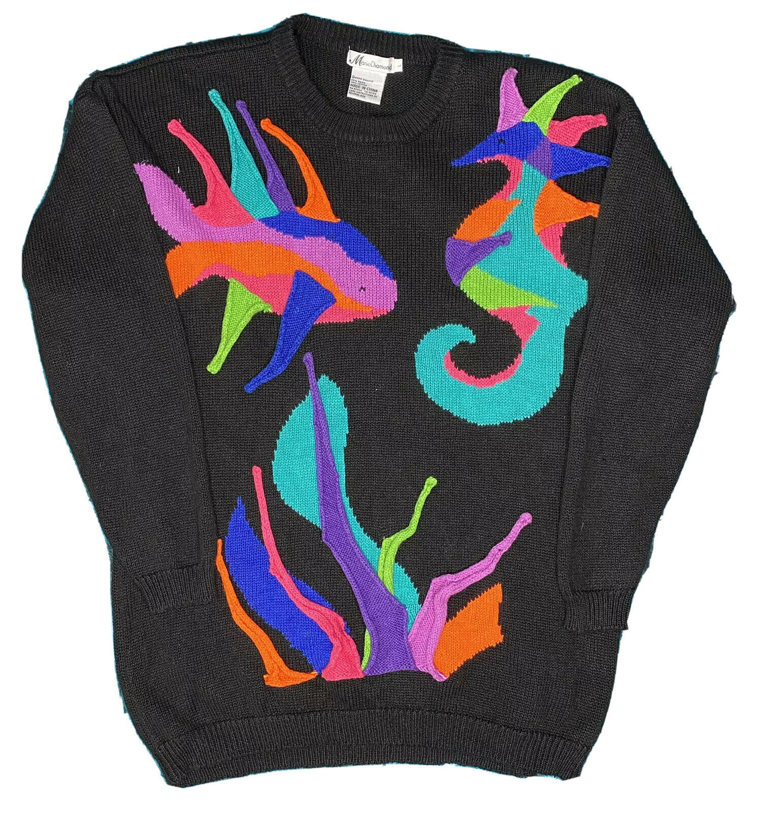 Vintage Marie Diamond Sweater 80s 90s Large Crazy Neon 3D Fish Ugly Pull Over