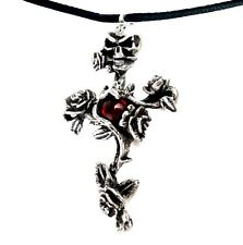 Alchemy Gothic Red Rose Thorn Cross Pendant Necklace Choker Black CordADJUSTABLE
