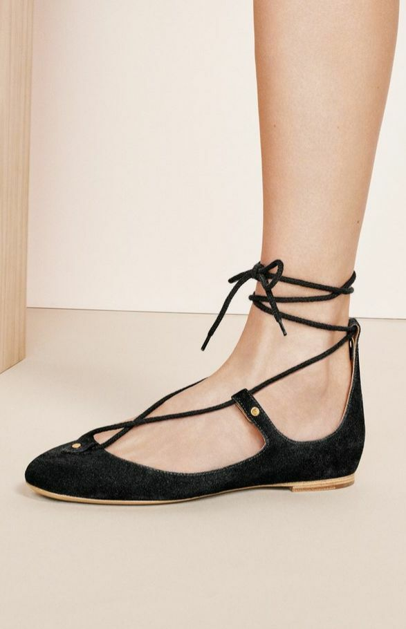 Chloé Chloe foster 37.5 Ballet Ballerina Flat Suede Black Leather Lace Up shoes