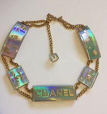 RARE! VTG Chanel Multicolor Holographic Hologram 90s Lucite Logo Belt 1997 S