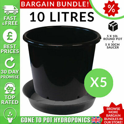 Vaso E Piattino Bundle Sconto - 5 X 10l Round Pot, 5 X 30cm Piattino- Bianchezza Pura