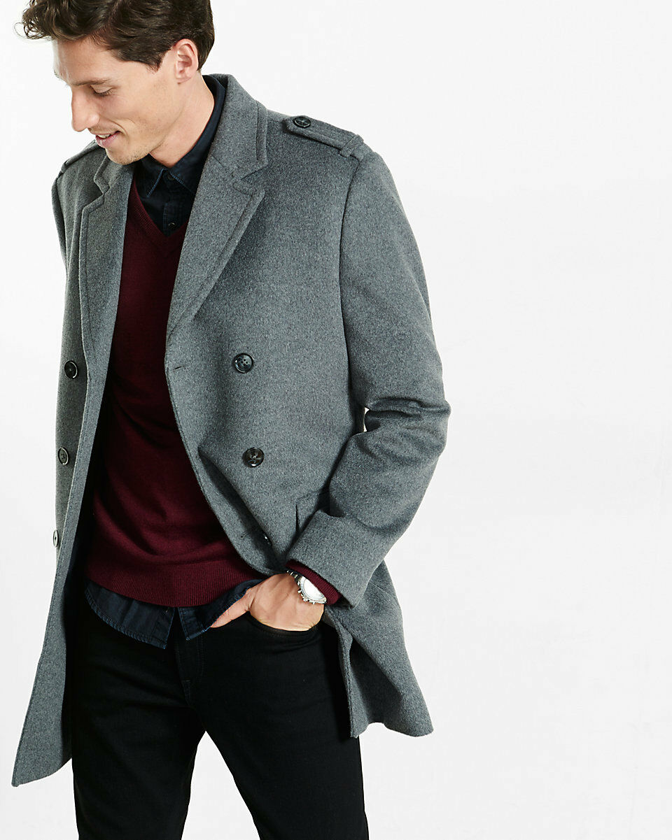 NEW EXPRESS  Wool Blend Double Breasted Topcoat COAT SZ
