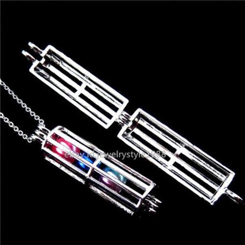 """Z237 Ajouter Des Perles-Acier inoxydable Argent Blanc Rectangle médaillon cage Collier 16/"""""""