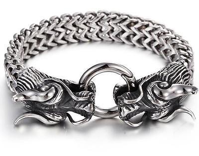 Chunky 316L Stainless Steel Men Biker Double dragon figaro Chain Bracelet 8.26''