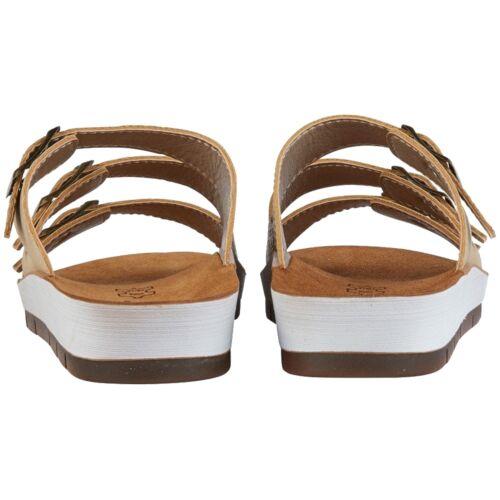 Ladies Lotus Turin Gold Leopard Triple Adjustable Strap Flat Mule Sandals