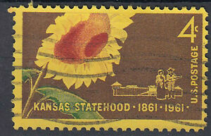 Estados-unidos-sello-con-sello-4c-kansas-Statehood-1861-1961-girasol-1841