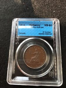 1812-Can-Token-NS-19A1-Breton-963-CCCS-Graded-MS-60-Halfpenny-Token
