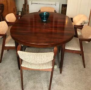 Details About Kai Kristiansen Danish Mid Century Modern Rosewood Extending Dining Table 1 Leaf