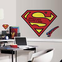 Giant Superman Logo Dry Erase Wall Decals Dc Comics Stickers Boys Room Decor