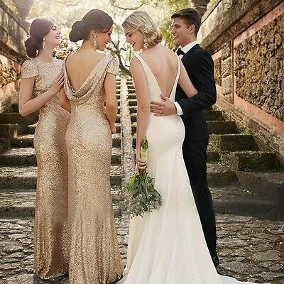 Short Sleeve Long Sequin Bridesmaid Dresses Backless Prom Party Evening Gown Hot