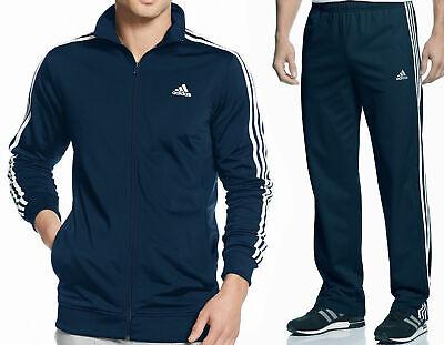 Adidas emparejado conjunto Pista Chaqueta y Pantalones Azul MarinoBlanco Talla Grande | eBay