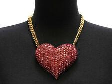 DESIGNER INSPIRED PINK CRYSTAL STONE PAVED LARGE HEART NECKLACE