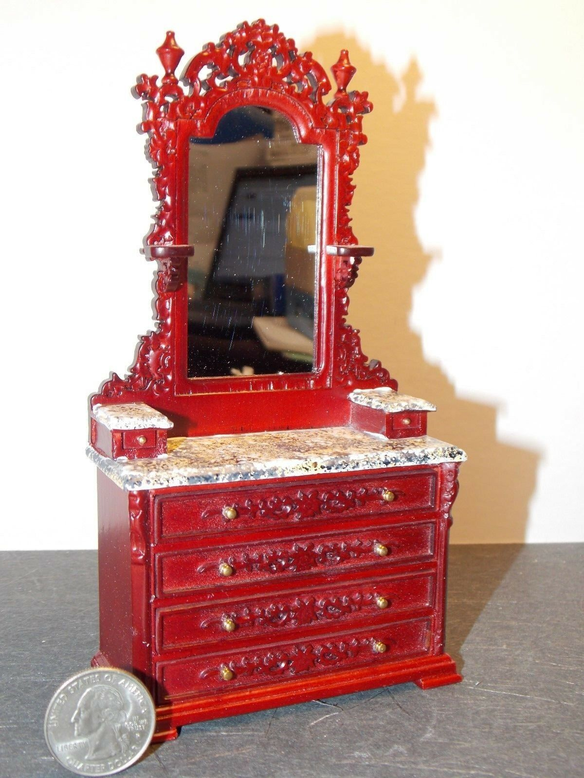 Dollhouse Miniature Lincoln Vanity Mahogany 1:12 inch scale Y14 Dollys Gallery