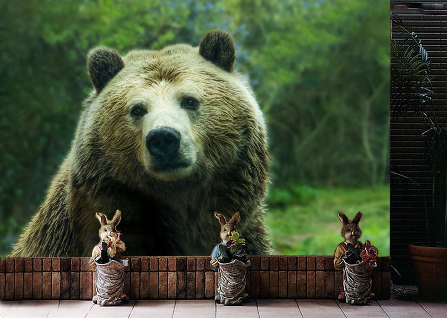 3D Forest bear Wall Paper wall Print Decal Wall Deco Indoor wall Mural