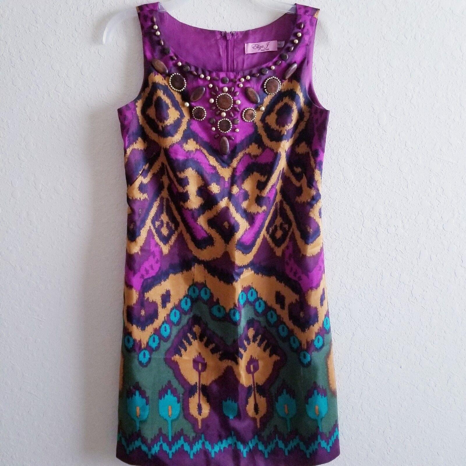 Eliza J Womens Purple beaded Sleeveless pinted dress Size 4