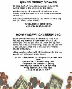2-Quick-Money-Drawing-Spells-1pg-Wicca-Book-of-Shadows-Spells-Page-on-Parchment