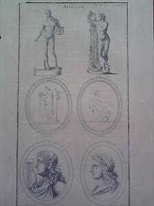GRAVURE-ANCIENNE-D-039-EPOQUE-MAFFEI-APOLLON-LA-CHAUSSE-BEGER-FORMAT-24-5-x-39-5-cm