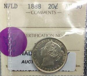 Newfoundland  1888  20 Cents  ICCS  AU 50 Wonderful Original Coin Top 10 Graded