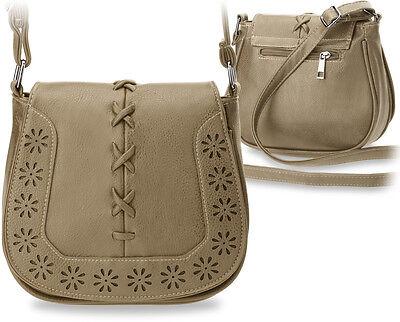 kleine Damentasche Schultertasche Hippie - Style Messengertasche beige