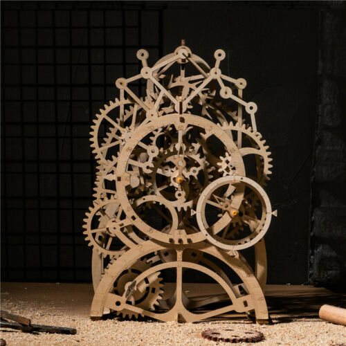 ROKR Laser Cutting 3D Wooden Puzzle Pendulum Clock Model Kits Toy Gift for Adult