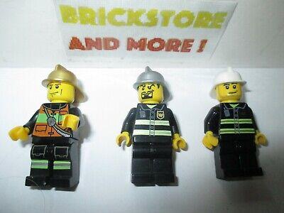 Minifigures Lego 3x Firemen Pompier Fire City