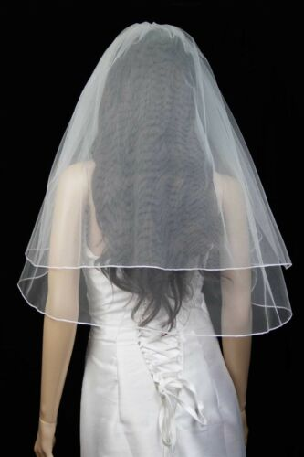 Bridal Wedding Classic Veil White 2 Tiers Elbow Length  With Pencil Edge