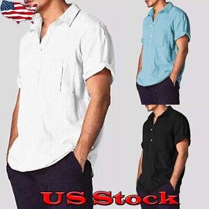 Men-Luxury-Short-Sleeve-Casual-Loose-Pceket-T-shirt-Fashion-Shirt-Blouse-Top-Tee