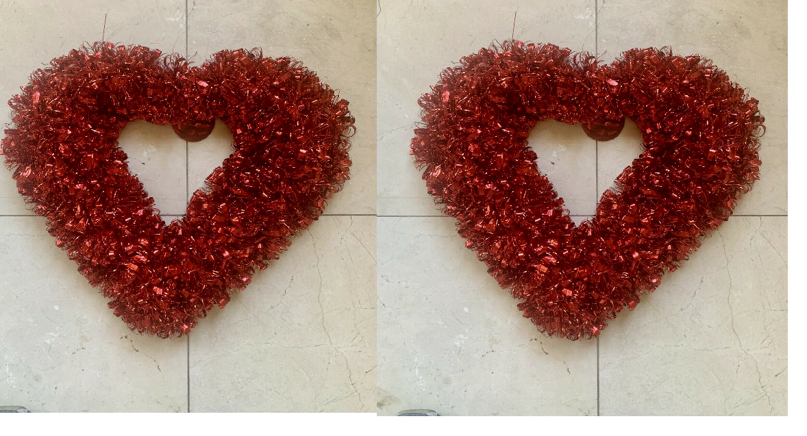 Large Valentine Hanging Tinsel Heart Wreaths With Red Satin Ribbon Case Of 36 For Sale Online Ebay