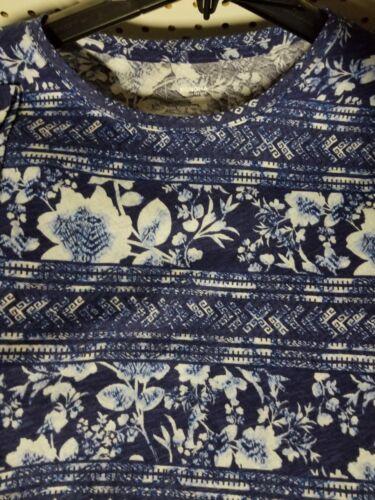 Débardeur femme SONOMA T-shirt Nouveau Fleur Bleu Haut Manches Courtes Shirt Small