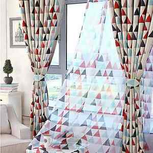 Red White Geometric Curtains