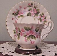 "Royal Albert Mayflower ""Pink"" Footed Cup & Saucer Bone China England"