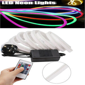 Details about 220V LED Strip RGB Neon Flex Rope Light Waterproof Flexible  Outdoor Lighting