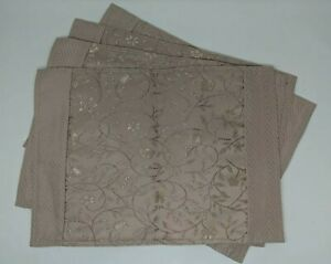 Tapestry-Place-Mats-Tan-Floral-18-x-13-Lot-of-4-New