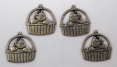 #0240 ANTIQUED GOLD KITTENS IN BASKET W/TOP HANG RING - 2 Pair Lot