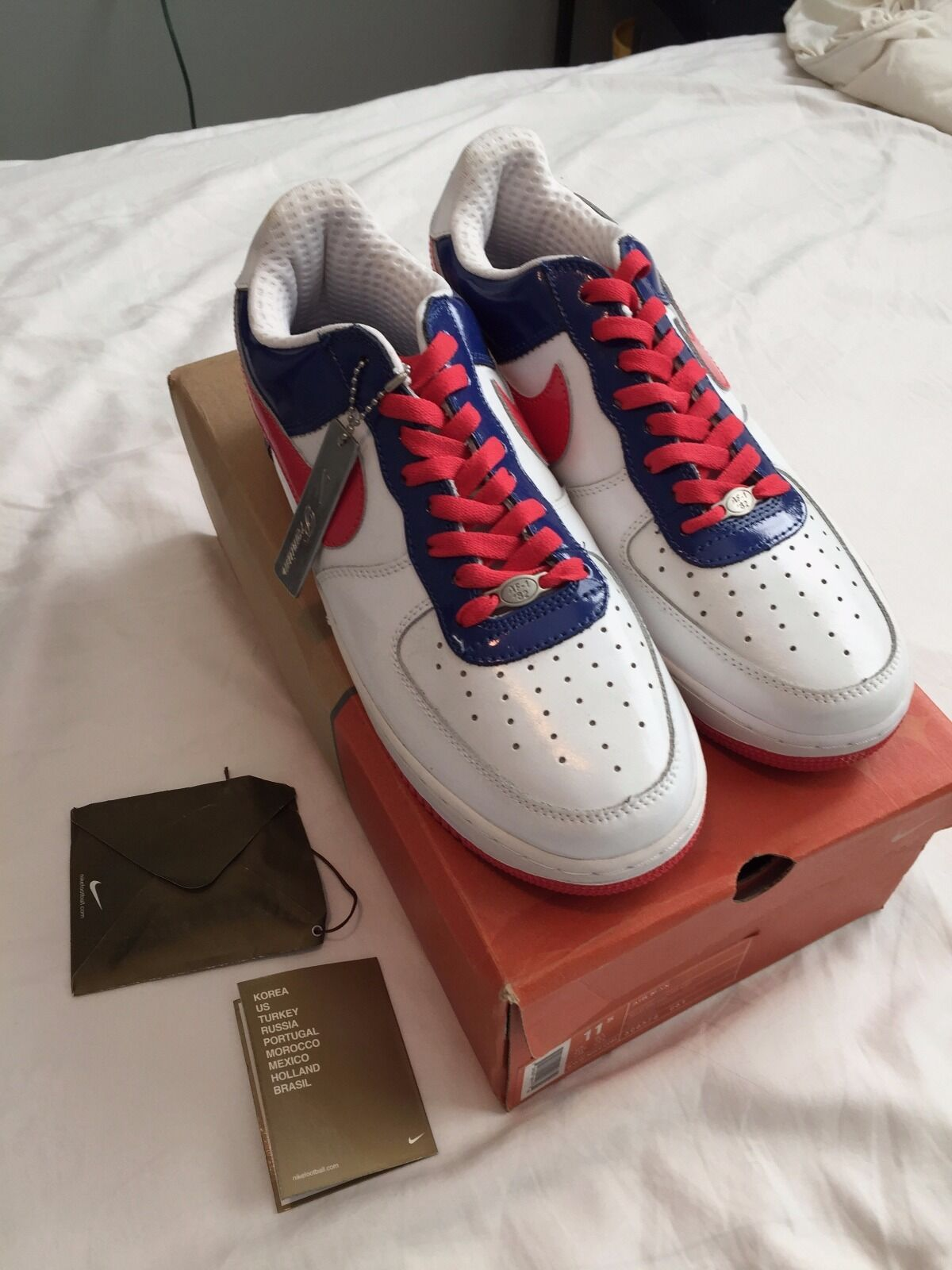 New Nike Air Force 1 Premium SOUTH KOREA WORLD CUP WHITE ROYAL blueeE RED 11